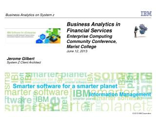 Business Analytics in Financial Services  Enterprise Computing Community Conference,