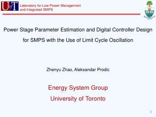 Energy System Group University of Toronto