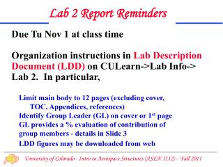 Due Tu Nov 1 at class time Organization instructions in  Lab Description