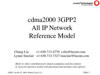 cdma2000 3GPP2  All IP Network Reference Model