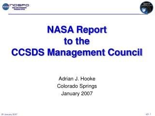 NASA Report to the CCSDS Management Council