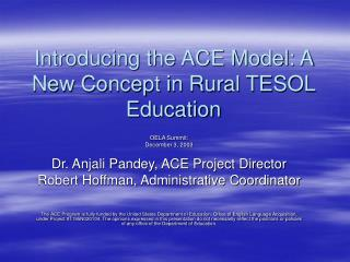 Introducing the ACE Model: A New Concept in Rural TESOL Education