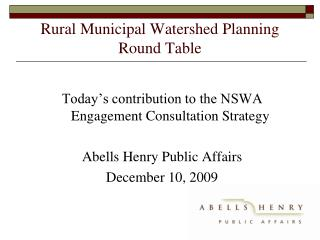 Rural Municipal Watershed Planning Round Table