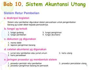 Bab 10 .  Sistem Akuntansi Utang