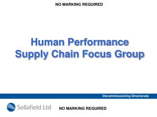 Human Performance  Supply Chain Focus Group