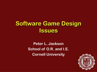 Software Game Design Issues