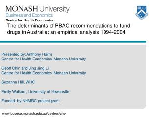 Presented by: Anthony Harris Centre for Health Economics, Monash University