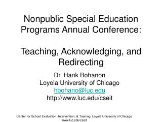Nonpublic Special Education Programs Annual Conference: Teaching, Acknowledging, and Redirecting