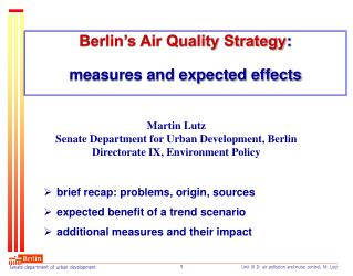 Berlin's Air Quality Strategy :  measures and expected effects