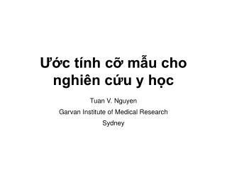 Ước tính cỡ mẫu cho nghiên cứu y học