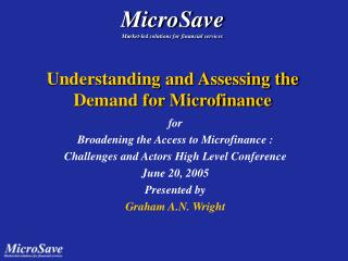 Understanding and Assessing the Demand for Microfinance