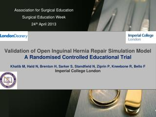 Association for Surgical Education Surgical Education Week 24 th  April 2013