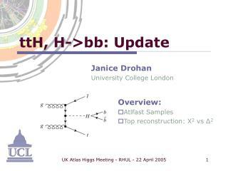 ttH, H->bb: Update