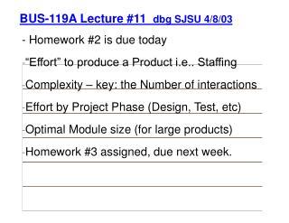 BUS-119A Lecture #11   dbg SJSU 4/8/03