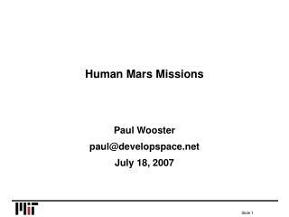 Human Mars Missions