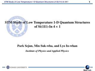 STM Study of Low Temperature 1-D Quantum Structures of Si(111)-In 4   1