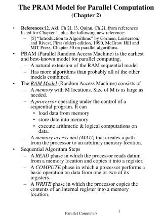 The PRAM Model for Parallel Computation (Chapter 2)