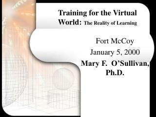 Training for the Virtual World: The Reality of Learning