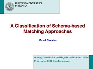 A Classification of Schema-based Matching Approaches