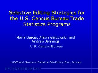 Selective Editing Strategies for the U.S. Census Bureau Trade Statistics Programs