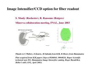 Image Intensifier/CCD option for fiber readout