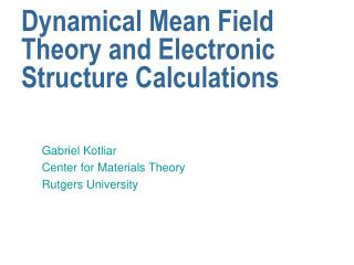 Dynamical Mean Field Theory and Electronic Structure Calculations