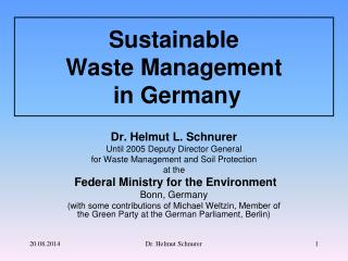 Sustainable  Waste Management  in Germany