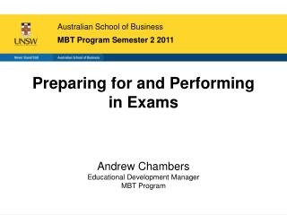 Australian School of Business MBT Program Semester 2 2011