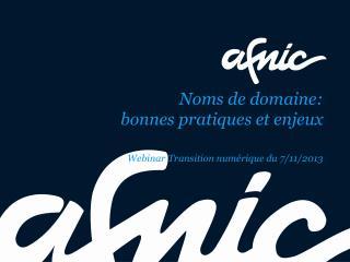 Noms de domaine:  bonnes pratiques et enjeux Webinar  Transition numérique du 7/11/2013