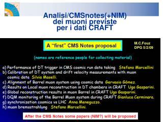 Analisi/CMSnotes(+NIM)  dei muoni previste  per i dati CRAFT