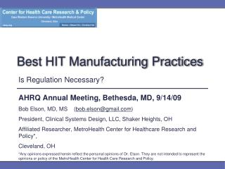 Best HIT Manufacturing Practices