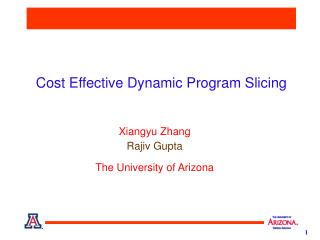 Cost Effective  Dynamic  Program  Slicing