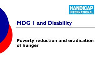 MDG 1 and Disability