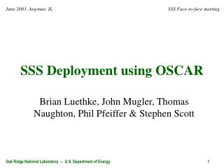 SSS Deployment using OSCAR