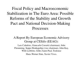 Fiscal Policy and Macroeconomic Stabilization in The Euro Area: Possible Reforms of the Stability and Growth Pact and Na