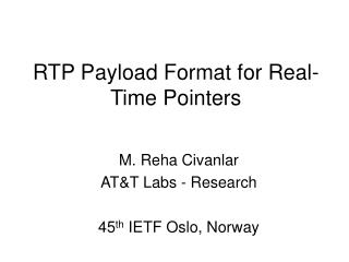RTP Payload Format for Real-Time Pointers