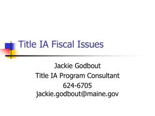 Title IA Fiscal Issues