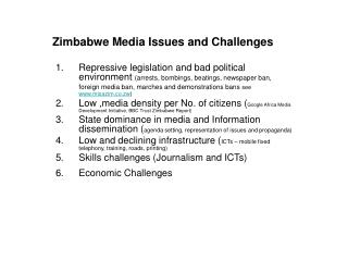 Zimbabwe Media Issues and Challenges