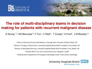 The role of multi-disciplinary teams in decision