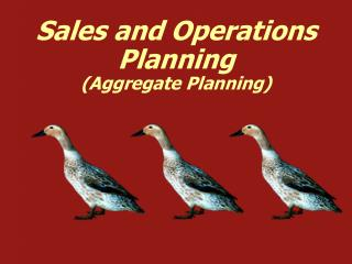 Sales and Operations Planning Aggregate Planning