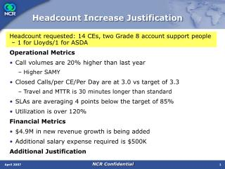 Headcount Increase Justification
