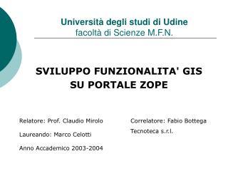 Università degli studi di Udine facoltà di Scienze M.F.N.
