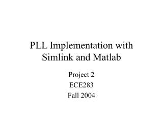 PLL Implementation with Simlink and Matlab
