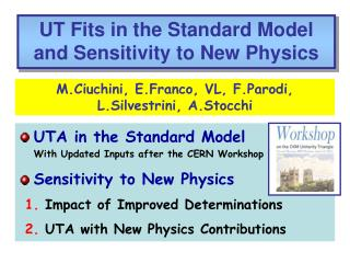UTA in the Standard Model With Updated Inputs after the CERN Workshop Sensitivity to New Physics