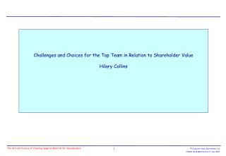 Challenges and Choices for the Top Team in Relation to Shareholder Value Hilary Collins