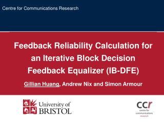 Feedback Reliability Calculation for an Iterative Block Decision Feedback Equalizer (IB-DFE)