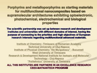 INSTITUTE OF CHEMISTRY-TIMISOARA OF ROMANIAN ACADEMY Contact Persons :