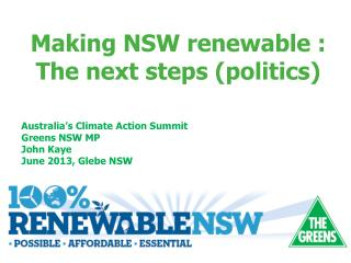Australia's Climate Action Summit  Greens NSW MP  John Kaye  June 2013, Glebe NSW