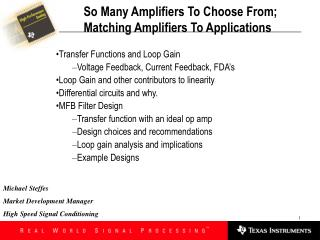 So Many Amplifiers To Choose From;  Matching Amplifiers To Applications
