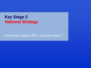 Key Stage 3  National Strategy